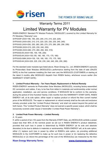 Limited Warranty for PV Modules