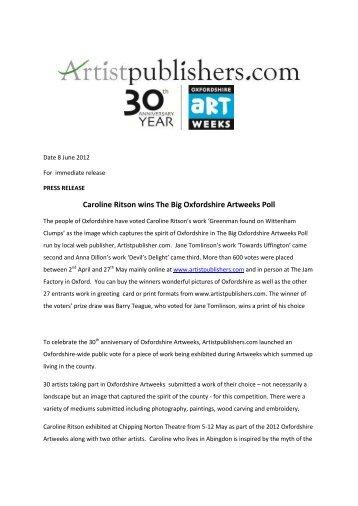 Caroline Ritson wins The Big Oxfordshire Artweeks Poll