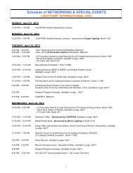 Schedule of NETWORKING & SPECIAL EVENTS