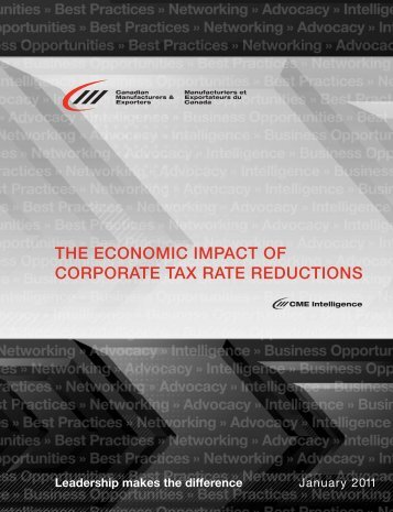 THE ECONOMIC IMPACT OF CORPORATE TAX RATE REDUCTIONS