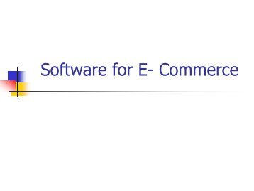 Software for E- Commerce