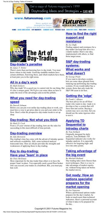 The Art of Day-Trading: Table of Contents