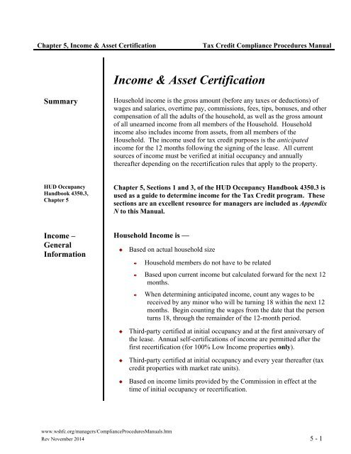 Income Asset Certification