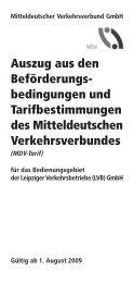 Tarifbestimmungen und Beförderungsbedingungen ab 1 ... - Lvb