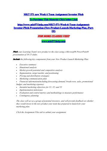 mkt 571 marketing plan week 6 Mkt - marketing course  mkt 571 week 6 new product launch marketing plan $ 700 buy to download mkt 571 week 6 new product strategy,.