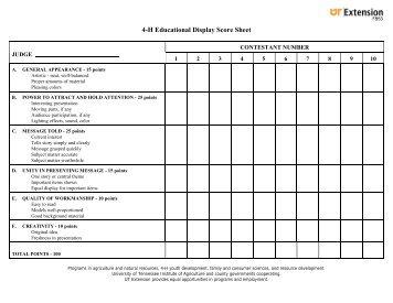 4-H Educational Display Score Sheet