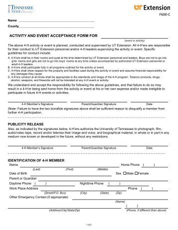 ACTIVITY AND EVENT ACCEPTANCE FORM FOR