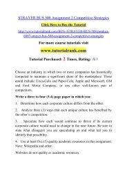 STRAYER BUS 508 Assignment 2 Competitive Strategies  / Tutorialrank