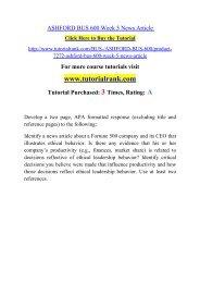 ASHFORD BUS 600 Week 5 News Article  / Tutorialrank