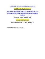 ASHFORD BUS 620 Retail Business Analysis  / Tutorialrank