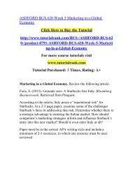 ASHFORD BUS 620 Week 5 Marketing in a Global Economy  / Tutorialrank