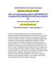 ASHFORD BUS 620 Week 6 Final Paper  / Tutorialrank