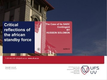 Critical reflections of the african standby force