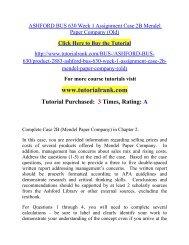 ASHFORD BUS 630 Week 1 Assignment Case 2B Mendel Paper Company (Old)  / Tutorialrank