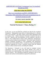 ASHFORD BUS 630 Week 2 Assignment Case 3A (Auerbach Enterprises) (Old)  / Tutorialrank
