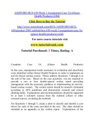 ASHFORD BUS 630 Week 3 Assignment Case 5A (Glaser Health Products) (Old)  / Tutorialrank
