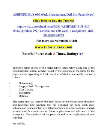 ASHFORD BUS 630 Week 1 Assignment Dell Inc. Paper (New)  / Tutorialrank