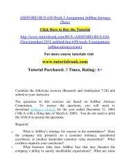ASHFORD BUS 630 Week 3 Assignment JetBlue Airways (New)  / Tutorialrank