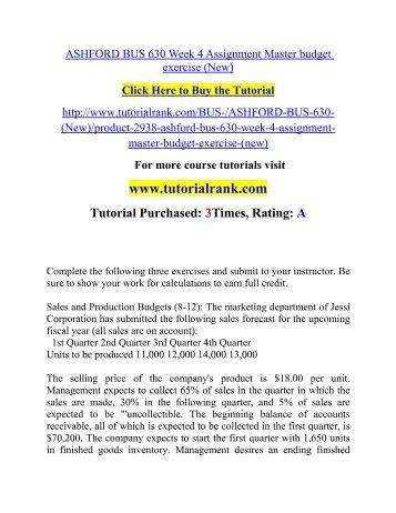 ASHFORD BUS 630 Week 4 Assignment Master budget exercise (New)  / Tutorialrank