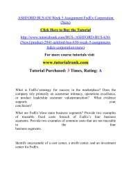 ASHFORD BUS 630 Week 5 Assignment FedEx Corporation (New)  / Tutorialrank