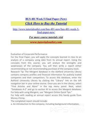 BUS 401 Week 5 Final Paper. /Tutorialoutlet