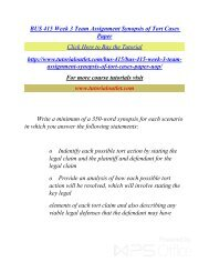BUS 415 Week 3 Team Assignment Synopsis of Tort Cases Paper. /Tutorialoutlet