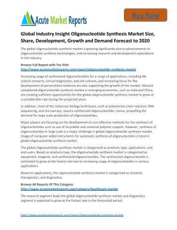 Global Industry Insight Oligonucleotide Synthesis Market to 2020 Size, Industry Trends,Growth Prospects Till,: Acute Market Reports