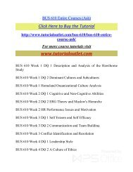 BUS 610 Entire Courses. /Tutorialoutlet