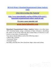 BUS 610 Week 1 Homeland Organizational Culture Analysis /Tutorialoutlet