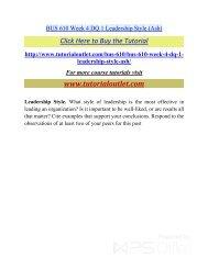 BUS 610 Week 4 DQ 1 Leadership Style. /Tutorialoutlet