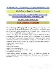 BUS 610 Week 5 Understanding and Coping with Change. /Tutorialoutlet