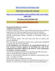 BUS 610 Week 6 Final Paper. /Tutorialoutlet