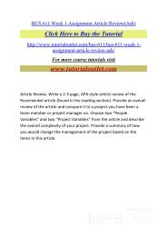 BUS 611 Week 1 Assignment Article Review. /Tutorialoutlet