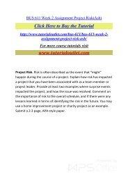 BUS 611 Week 2 Assignment Project Risk. /Tutorialoutlet
