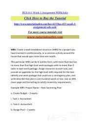 BUS 611 Week 3 Assignment WBS. /Tutorialoutlet