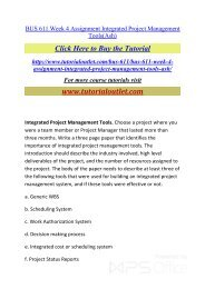 BUS 611 Week 4 Assignment Integrated Project Management Tools. /Tutorialoutlet