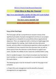 BUS 611 Week 6 Final Research Paper. /Tutorialoutlet