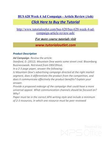 BUS 620 Week 4 Ad Compaign - Article Review (Ash). /Tutorialoutlet