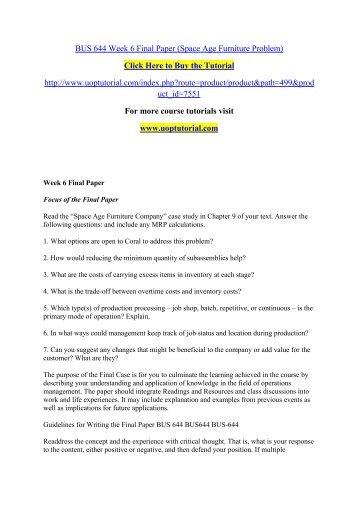 BUS 644 Week 6 Final Paper