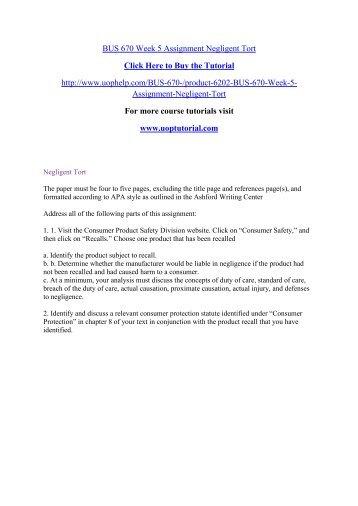 BUS 670 Week 5 Assignment Negligent Tort
