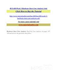 BUS 680 Week 2 Hardware Store Case Analysis (Ash). /Tutorialoutlet