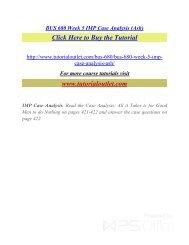 BUS 680 Week 5 IMP Case Analysis (Ash). /Tutorialoutlet