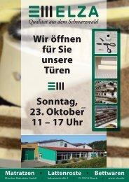 Wir öffnen für Sie unsere Türen Sonntag, 23. Oktober 11 – 17 ... - ELZA