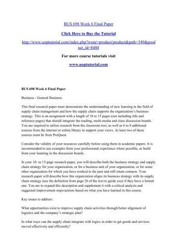BUS 698 Week 6 Final Paper