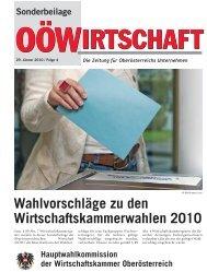 Wahlvorschläge zu den Wirtschaftskammerwahlen 2010