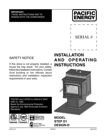 SERIAL # INSTALLATION AND OPERATING INSTRUCTIONS