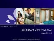 2013 DRAFT MARKETING PLAN