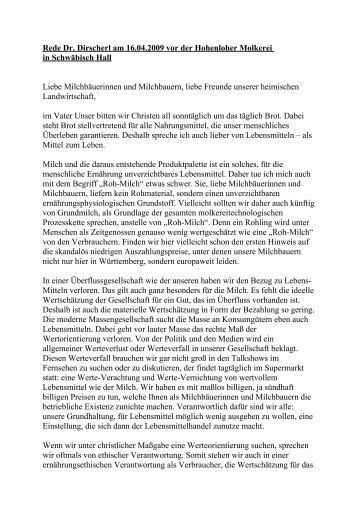 Rede Dr. Dirscherl am 16.04.2009 vor der - Evangelisches ...