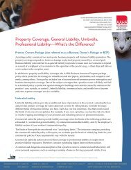 Property Coverage, General Liability, Umbrella, Professional ...