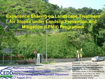 Experience Sharing on Landscape Treatment for Slopes under ...